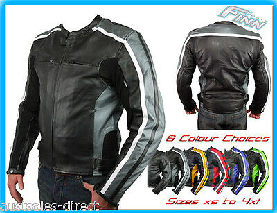Mens Street Retro Motorcycle Sports Bike Leather Jacket Tall XS Blue Red