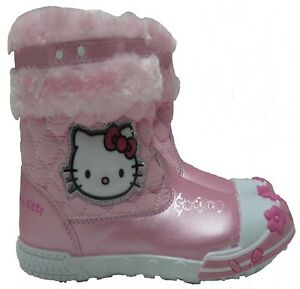 Girls Hello Kitty Fur Trim Winter Snow Boots Shoe Sizes 5-10