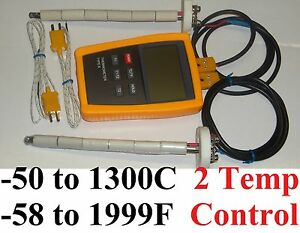 Digital pyrometer 2 Kiln Oven F,C pottery ceramic Glass Annealing Thermocouple
