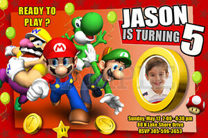 Image Is Loading SUPER MARIO BROS BIRTHDAY PARTY INVITATION PHOTO BROTHERS