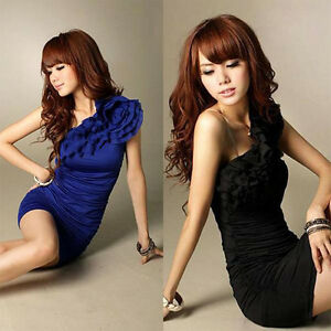 New-Sexy-Women-039-s-One-Shoulder-Evening-Wedding-Cocktail-Party-Wrinkle-Dress-J
