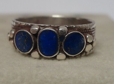 SILVER & LAPIS Inlay Central Asian Ethnic Tribal RING- High Quality- Size 9 1/2