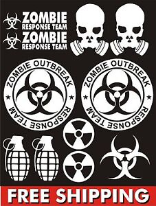 Zombie Outbreak Response Team Stickers Vinyl Set Car Jdm