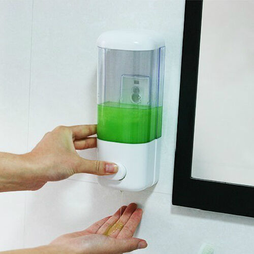 Trendy Wall Mounted Soap Sanitizer Shower Gel Shampoo Dispenser Container HUUS