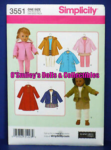 SIMPLICITY-18-DOLL-CLOTHING-PATTERN-Dolls-3551-UNCUT-NEW