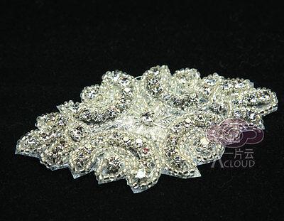 LOT OF 2 BEADED GLASS CRYSTAL RHINESTONE WEDDING CRAFT SASH HEADBAND APPLIQUE