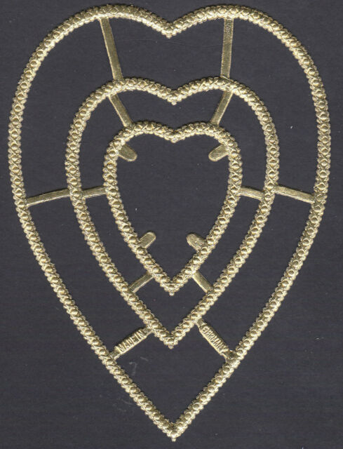 VALENTINE FRAME HEART LOVE GOLD MULTIPLE EMBOSSED PAPER DRESDEN  GERMANY OUTLINE