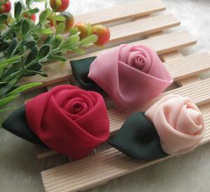 30-9pcs-Big-Organza-Ribbon-Rose-Flower-Wedding-Sew-Appliques-Craft-E47-U-pick