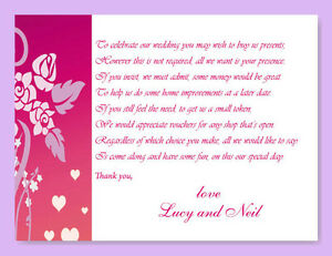 Wedding Gift Information Card : 25 Money Cash Gift Poem CardsPersonalisedWedding, Honeymoon ...
