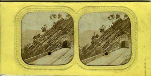 ITALIE-GENOVA-Genes-Le-tunel-vue-stereo-panoptique-photo-circa-1880