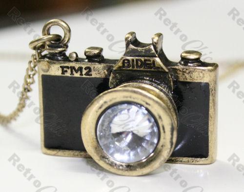 BLACK FM2 VINTAGE CAMERA pendant necklace LONG CHAIN antique brass rhinestone 3D