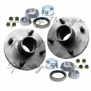 Trailer-Hubs-PAIR-MINI-4-stud-HOLDEN-bearings-Caravan-Camper-Box-Car-Trailer