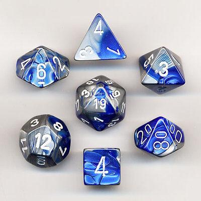 Dice Set: Gemini Poly Blue Steel/White (7) CHESSEX 26423