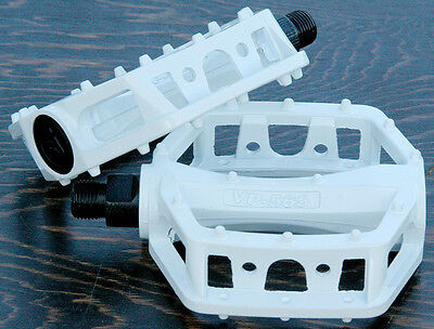 "White Platform Bike Pedals 9/16"" Fixed Gear Track BMX MTB Cruiser Fixie Bicycle"