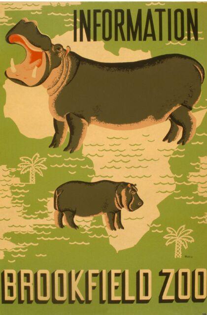 Hippopotamus Hippo Brookfield Zoo Ad Art Deco WPA Waltrip New Poster PRINT 1052