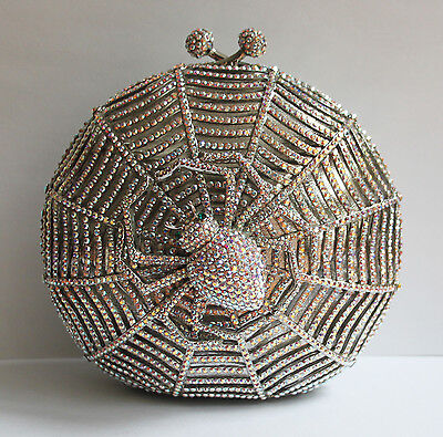 Butler and Wilson Clear AB Swarovski Crystal Spider Web Clutch Chain ONLY ONE!