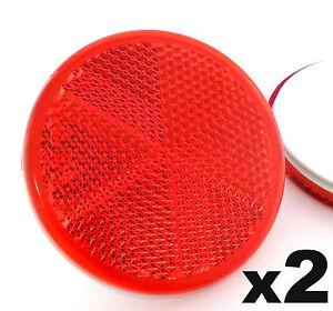 2x selbstklebend aufkleben rot runde kreisf rmig anh nger wohnwagen reflektoren. Black Bedroom Furniture Sets. Home Design Ideas