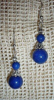super Ohrringe, Ohrhänger, Lapis Lazuli, 4,6 cm, Tibet Silber, NEU + TOP