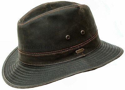 STETSON Mens Cotton Safari Outback Hat Brown Cowboy Fedora Hunting Bush Cap