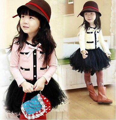 Kids Girls 100% Cotton Tulle Pompon Skirts Tutu High Quality Dress 3-8 Y D012