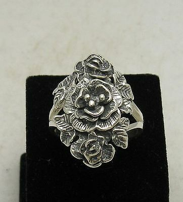 STERLING SILVER RING  FLOWER ROSE NEW SOLID SIZE 3.5 - 13
