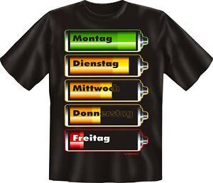 Woche-Fun-T-Shirt-Shirt-geil-bedruckt-Batterie-Fuellstand-Geburtstag-Geschenk