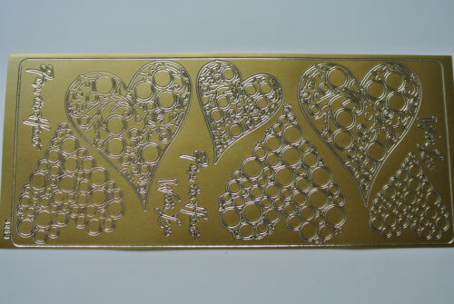 BUBBLE HEARTS WOODWARE Peel Offs » SILVER or GOLD » Two Sheets
