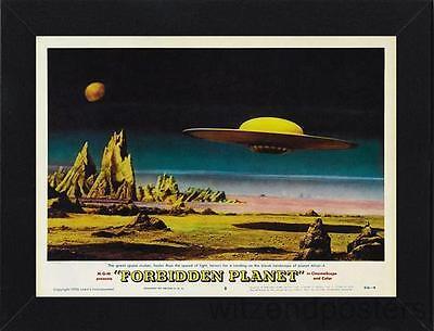 Framed Forbidden Planet Flying Saucer Movie Poster In Black Frame (PosterA4Size)