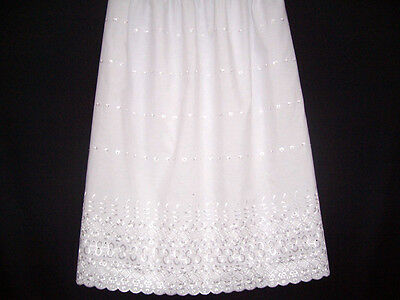 EMBROIDERED100% COTTON Underskirt Waist Skirt Half Slip WHITE BLACK & CREAM
