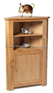 New-Solid-Oak-Medium-Tall-Corner-Display-Unit-Cabinet-Cupboard-With-Door-Shelf