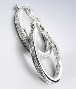 CLASSIC-18kt-White-Gold-Plated-Inside-Outside-CZ-Crystals-OVAL-Hoop-Earrings