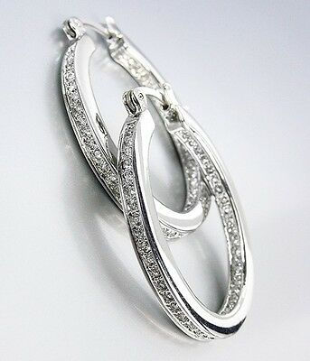 CLASSIC 18kt White Gold Plated Inside Outside CZ Crystals OVAL Hoop Earrings
