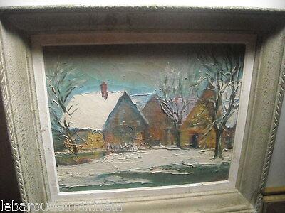 ancienne huile sur toile paysage de montagne signé old painting