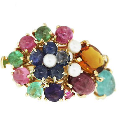14k Yellow Gold Multi-Gemstone Bead Necklace Clasp