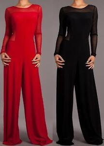 New Women Mesh Sheer Long Sleeve Jumpsuit Wide Leg Full