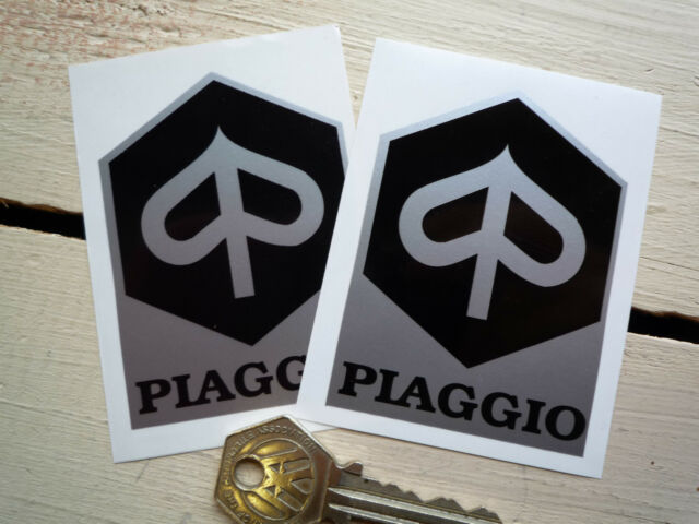 "PIAGGIO Black & Silver Scooter STICKERS 3"" Pair Moped Vespa Classic Motorcycle"
