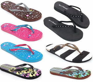 Womens-Flip-Flops-Summer-Beach-Sandals-Flats-Thongs-in-Many-Cool-Styles-amp-Colors