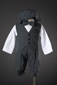 Infant-Toddler-Boys-Knicker-Set-Dark-Grey-Pinstriped-w-Vest-amp-Hat