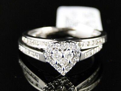 10K LADIES WOMENS WHITE GOLD DIAMOND BRIDAL ENGAGEMENT WEDDING HEART RING SET