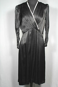 RARE-FRENCH-VINTAGE1940-039-S-WWII-ERA-BLACK-RAYON-SATIN-DRESS-SIZE-10-12