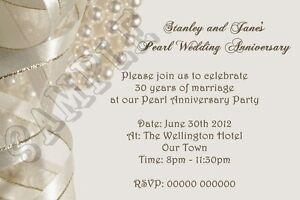 Personalised Pearl Wedding Anniversary Invitations 30th Anniversary