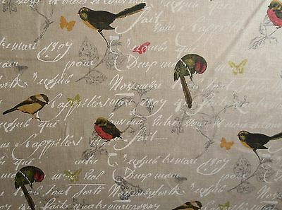 STOF OISEAUX NATURAL 100% LINEN CURTAIN FABRIC FLORAL BIRDS BUTTERFLY PINK GREEN