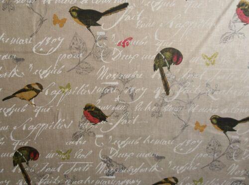 STOF OISEAUX NATURAL 100% LINEN CURTAIN FABRIC FLORAL BIRDS BUTTERFLY PINK GREEN