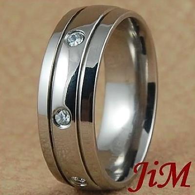 8MM Titanium Wedding Band Ring Diamond Bridal Jewelry For Men or Women Size 6-13