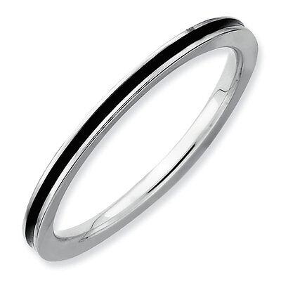 Sterling Silver Stackable 1.50 mm Ring Black Enameled, Fashion Ring QSK140