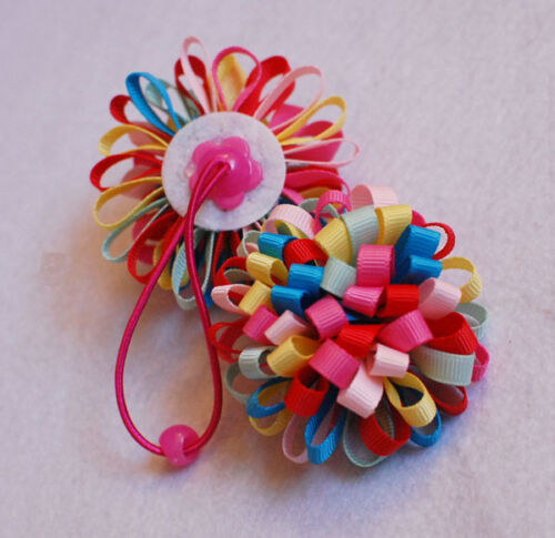 """1×Baby//girls Bouquet Loopy puffs Ribbon 2.5/"""" Hair ties Alligator clips Hair Bows"""