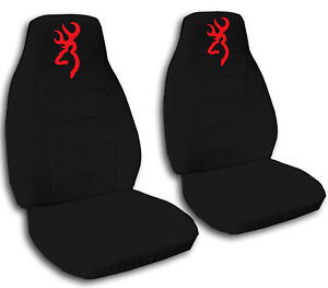 Browning Car Seat Covers In Red Amp Black Velour Front Set