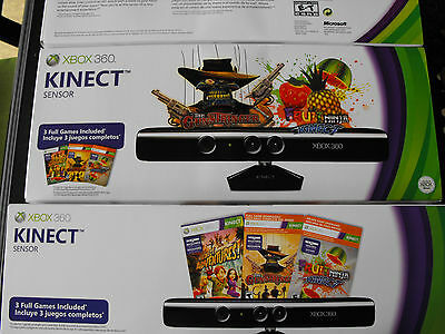 xbox 360 kinect sensor with 3 games, gunstringer, fruits and adventures, NEW!!!!