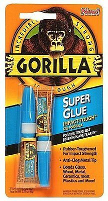 New Gorilla Glue 30 Second Super Glue 2 Pack Tubes Incredibly Strong