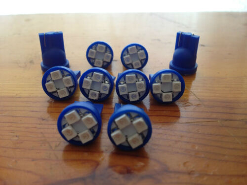 10 Blue Jeep *SUPER BRIGHT* 12V LED 194 Wedge Instrument Panel Light Bulbs NOS
